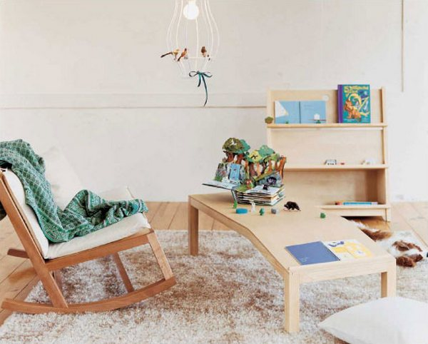 Actus furniture - rocking chair, bookshelf and table