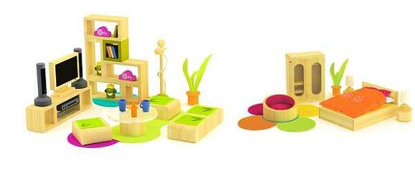 Sunshine Dollshouse living room and bedroom set