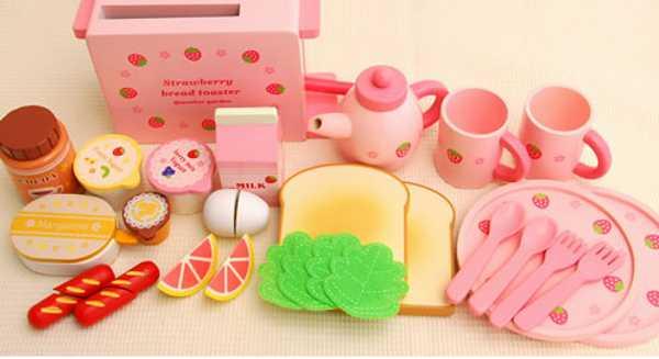 Mother Garden Wooden Toys play food wooden pink tea set