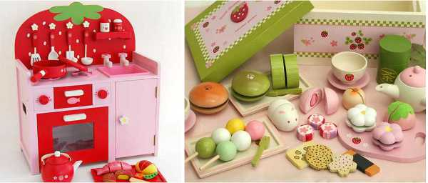 Mother Garden Wooden Toys pink kitchen play food