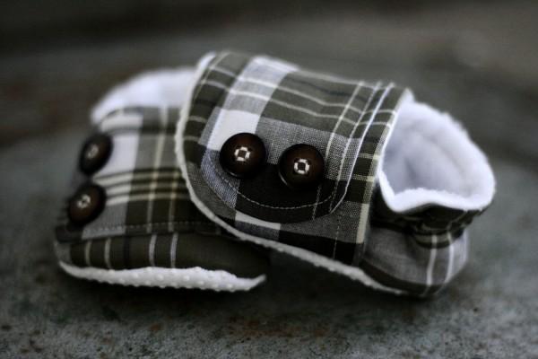 baby shoes, booties, plaid, tartan
