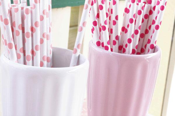 pink dot paper straws via etsy