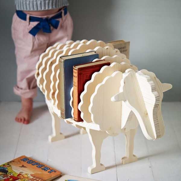 Sheep bookcase by Rowen Wren
