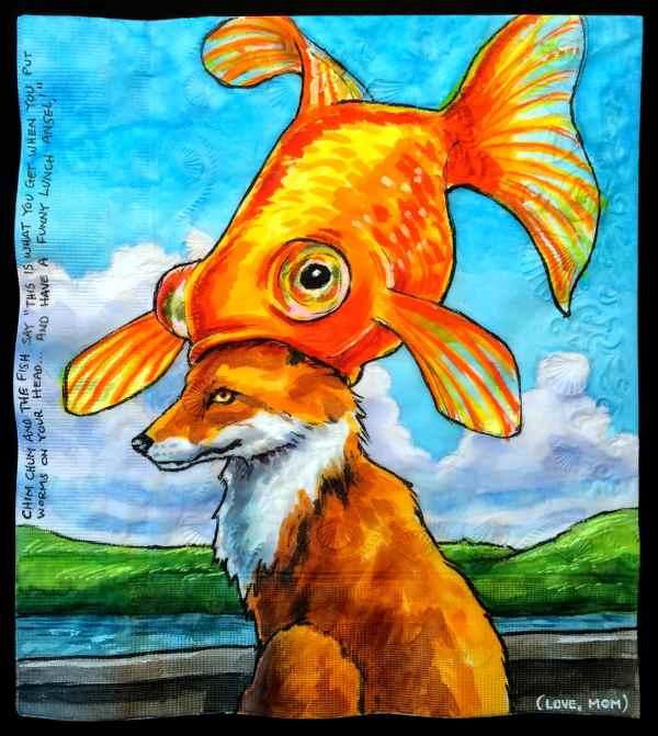 fish and dog napkin