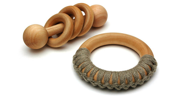 wooden rattle and teething ring