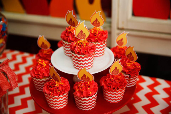 fire engine flame cupcakes