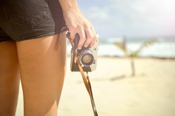 taking photos on beach