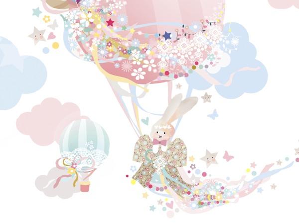 Schmooks Bunny and the Magical Balloon wall sticker girl