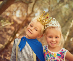 Brother and sister wearing crowns dress ups - feature
