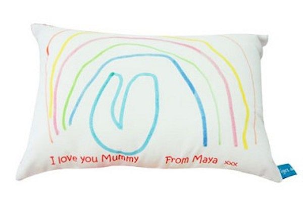 kids artwork as pillowcase