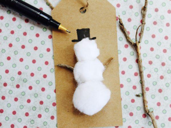 Pom pom snowman step 2