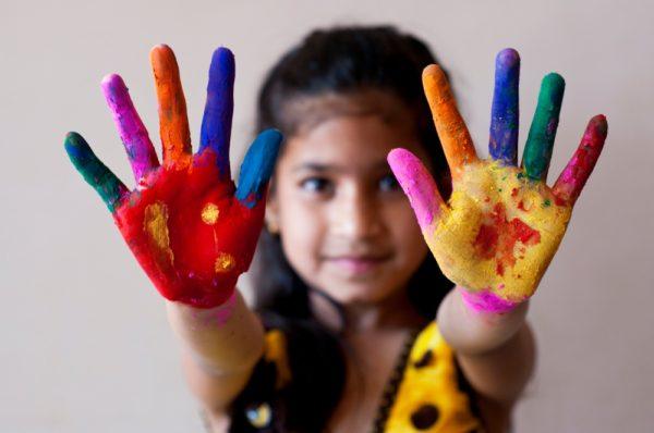 Finger painting child