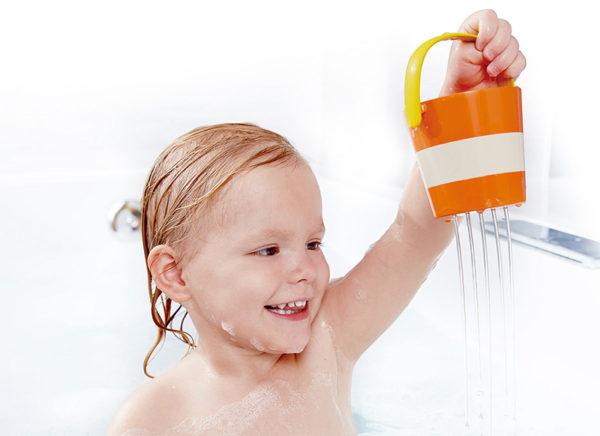 child, bath, toys, bucket