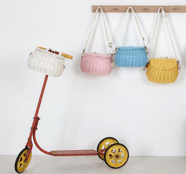 scooter, coat rack, baskets, bags