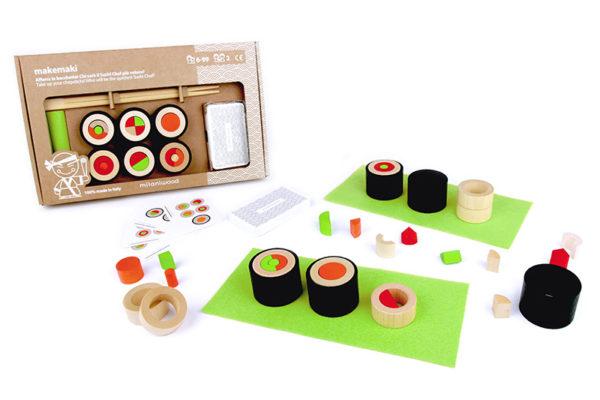 wooden toy, sushi. chopsticks