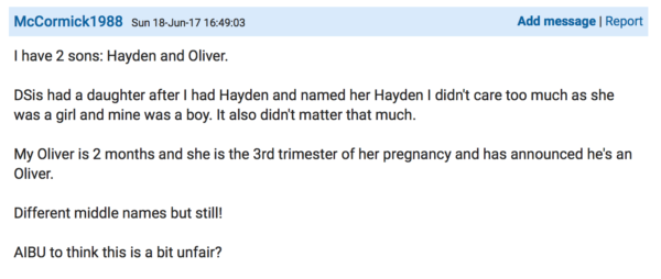 Post on Mumsnet about duplicate baby names