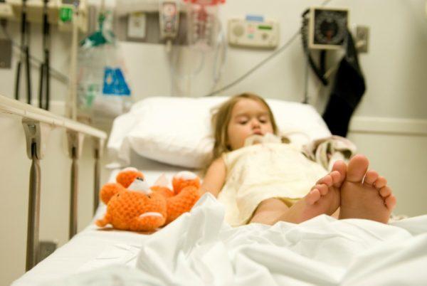little girl hospital bed