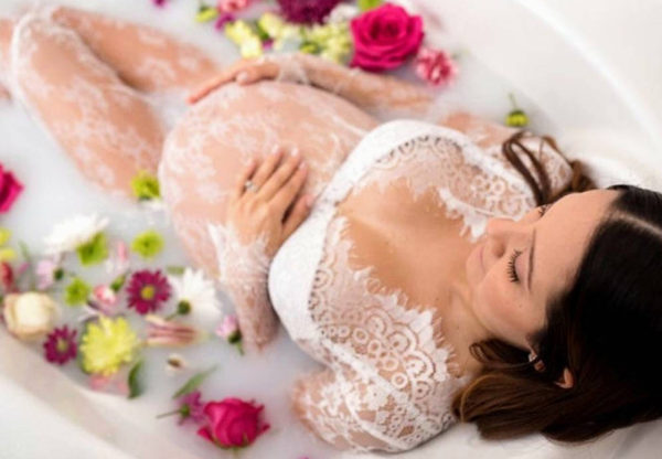 milk, bath, pregnancy, woman, lace, flowers