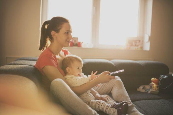 Mum and baby watching TV