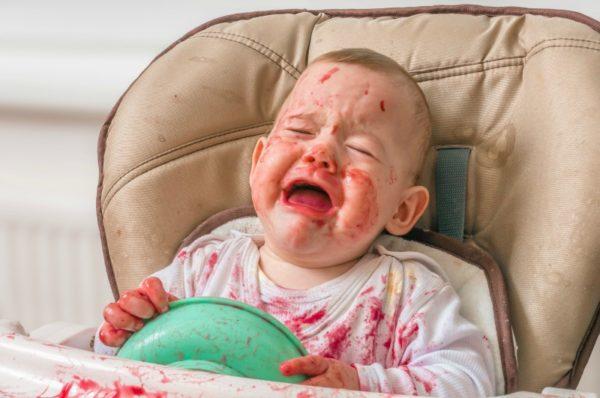 messy toddler crying