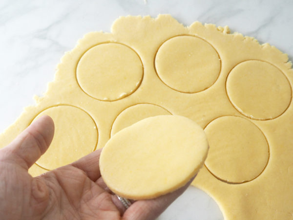 Easter bunny tail biscuit recipe - roll out dough and cut shapes