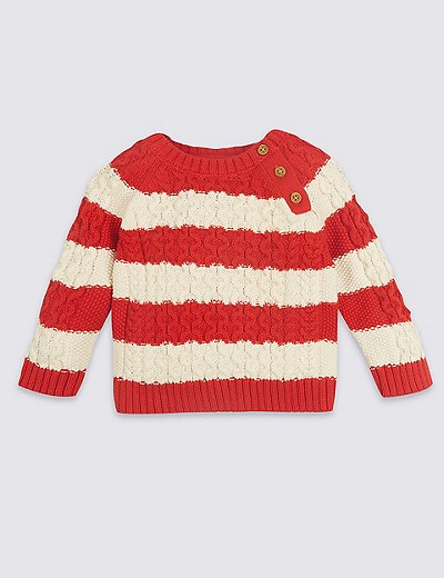 Pure Cotton Striped Cable Knit Jumper