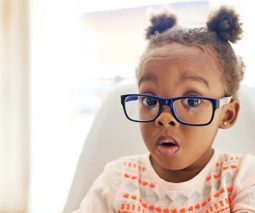 Young girl pigtails glasses shocked face - feature