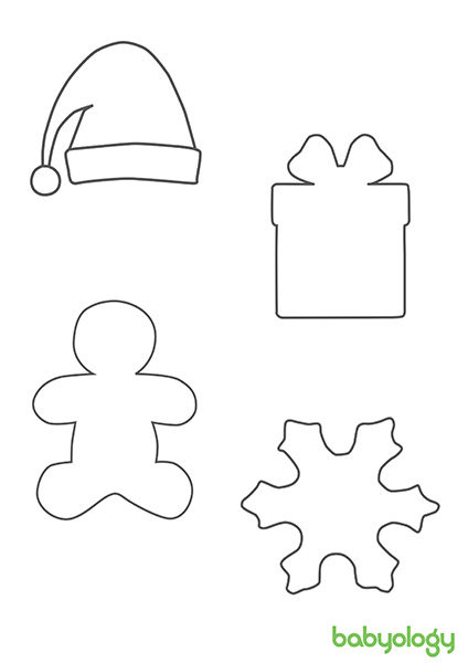 Christmas shapes - santa hat, present, gingerbread man, snowflake