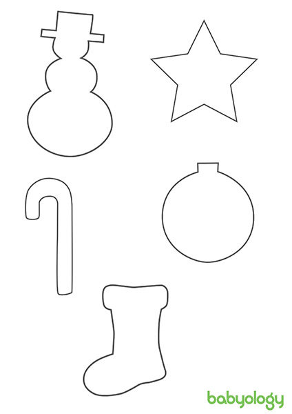Christmas shapes template snowman star candy cane bauble