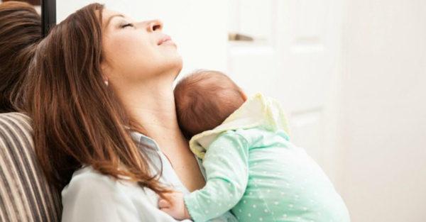 Sleeping mum and baby