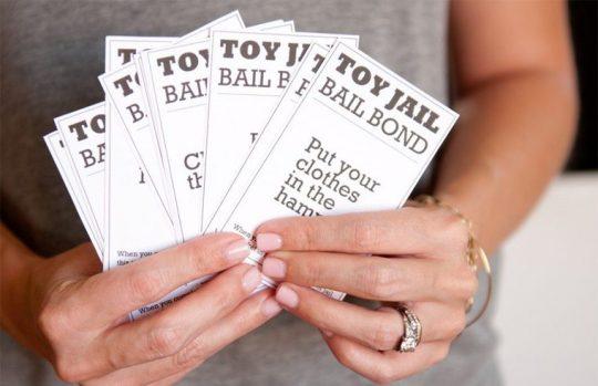 Toy Jail bail bond cards