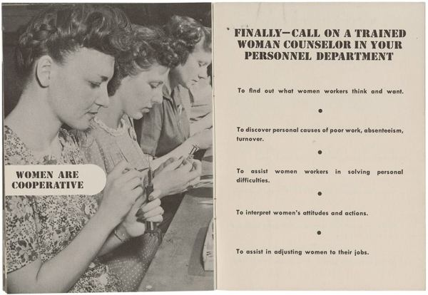 1940's women in the workplace memo