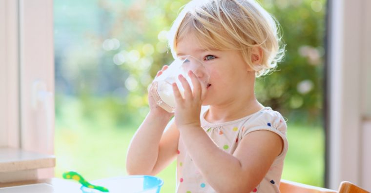 Toddler girl drinking a glass of milk