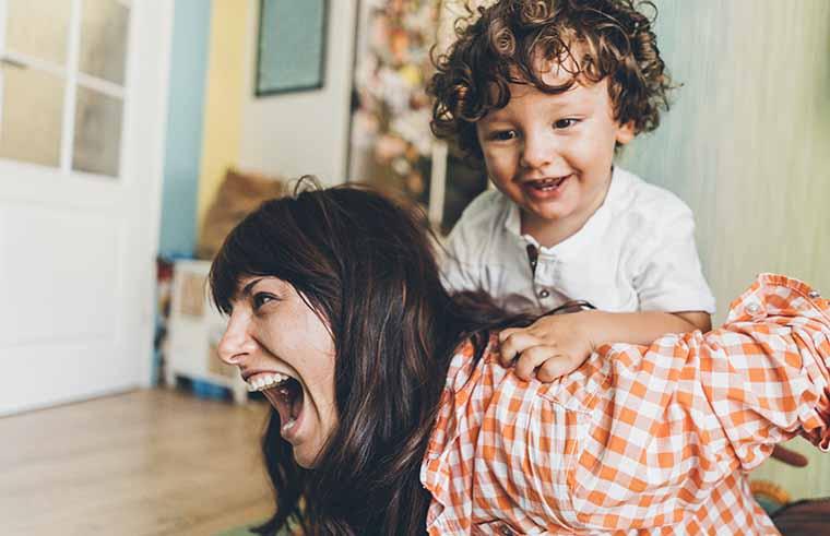 Child and mum playing