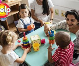 children in childcare with educators