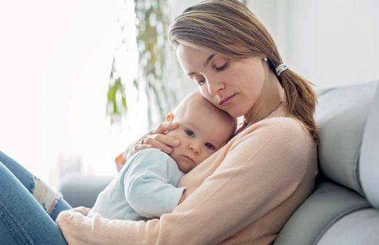 Sick baby and mum