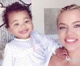 Khloe Kardashian with baby True