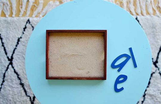 sand lettering activity for preschooler