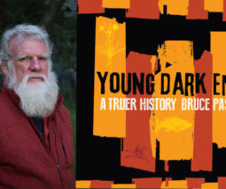 Author Bruce Pascoe and the cover of his book Young Dark Emu