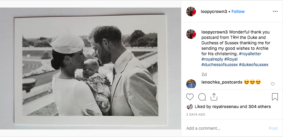 Meghan and Harry christening photo on Instagram