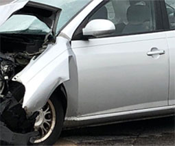car after terrible collision with SUV
