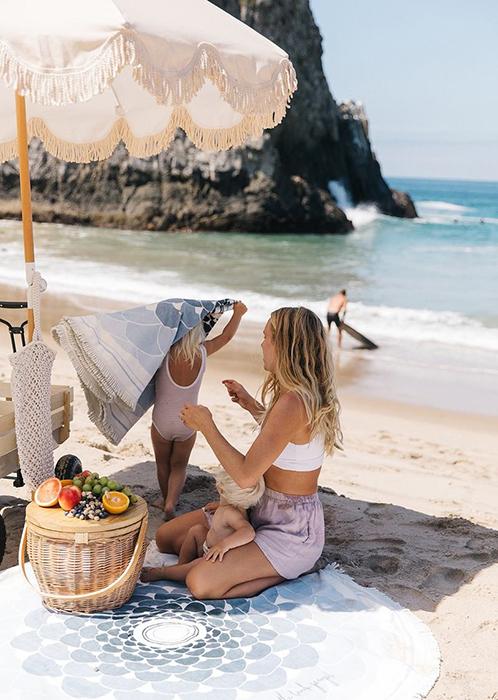 Round beach towel at the beach