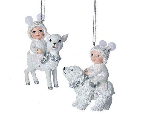 Child on polar bear Christmas ornament