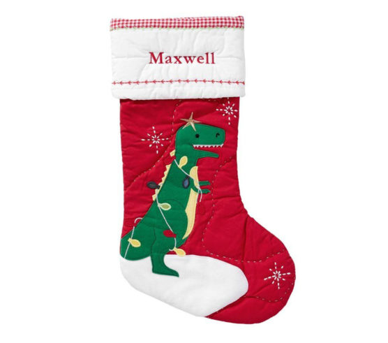 Pottery Barn Kids dinosaur stocking
