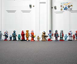 Toy robots in a line
