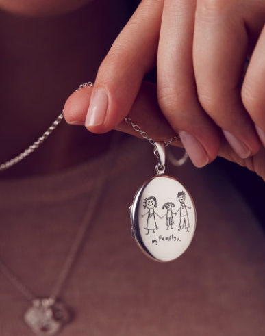 Engraved locket on chain