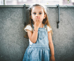 Preschool girl hand on mouth looking shocked surprised - feature