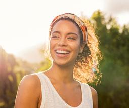 Happy smiling woman thumb