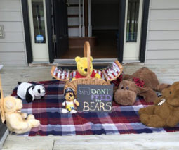 Teddy bears having a picnic at front door - feature