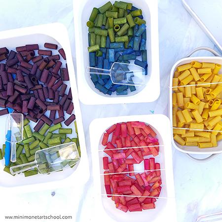 Rainbow and trapped pasta sensory play